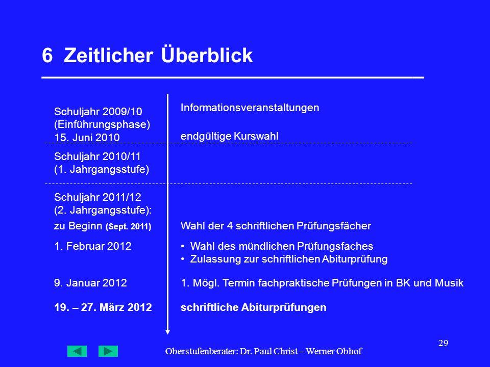 Oberstufenberater: Dr. Paul Christ – Werner Obhof 29 6 Zeitlicher Überblick __________________________________ Schuljahr 2009/10 (Einführungsphase) 15