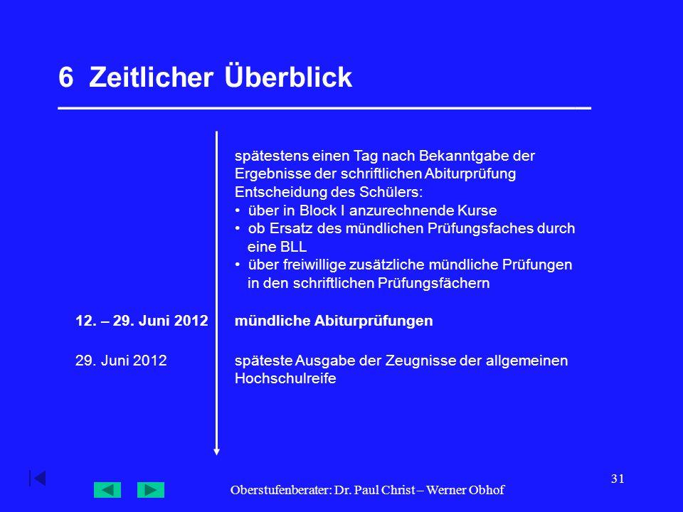 Oberstufenberater: Dr. Paul Christ – Werner Obhof 31 6 Zeitlicher Überblick __________________________________ 12. – 29. Juni 2012mündliche Abiturprüf