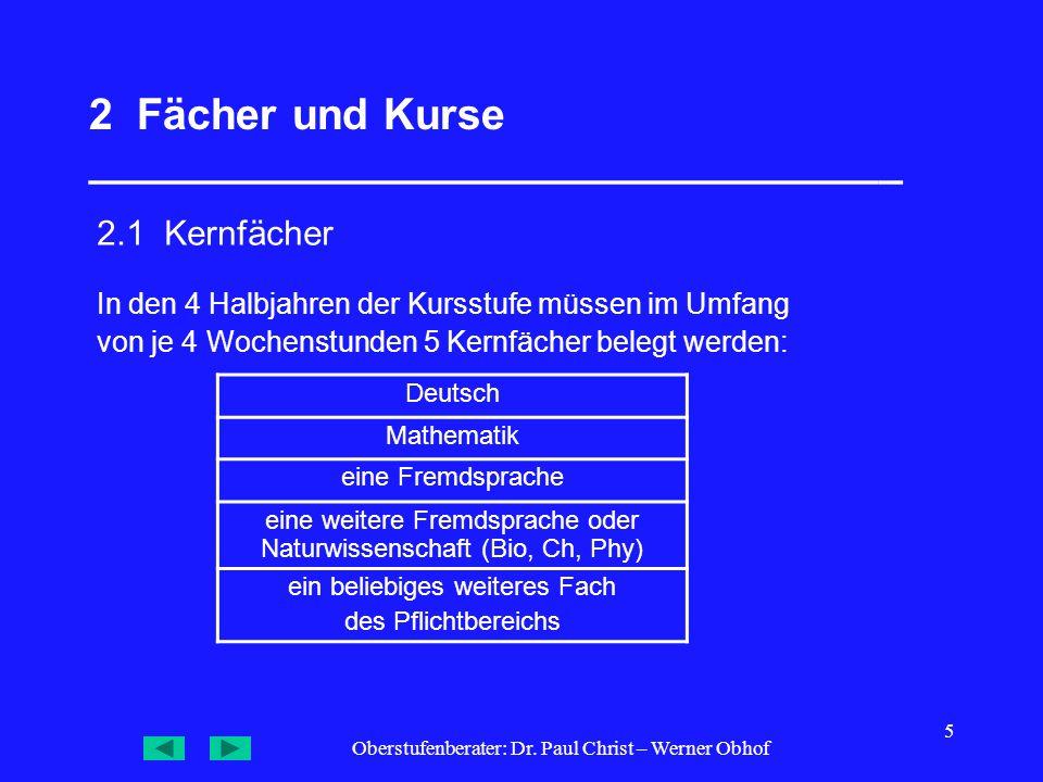 Oberstufenberater: Dr. Paul Christ – Werner Obhof 5 2 Fächer und Kurse __________________________________ 2.1 Kernfächer Deutsch Mathematik eine Fremd