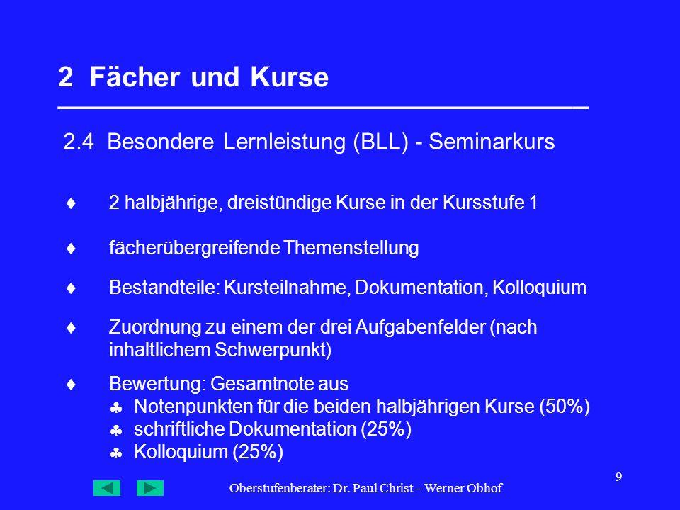 Oberstufenberater: Dr. Paul Christ – Werner Obhof 9 2 Fächer und Kurse __________________________________ 2.4 Besondere Lernleistung (BLL) - Seminarku