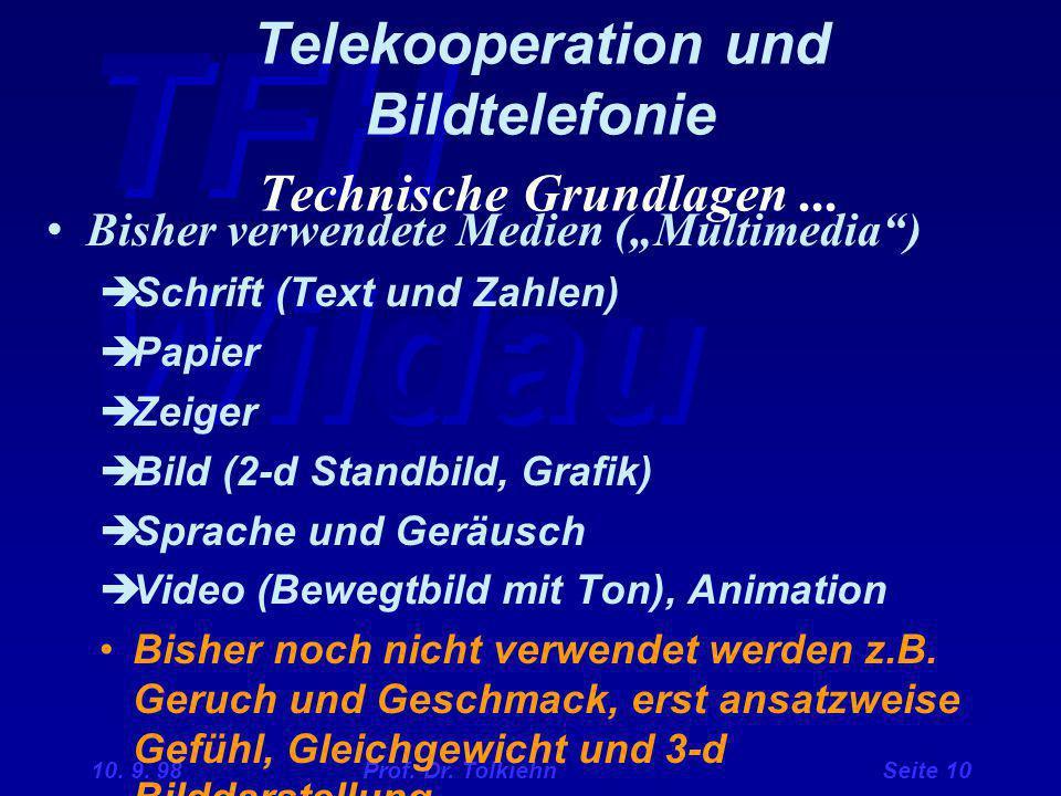 """TFH Wildau 10. 9. 98 Prof. Dr. Tolkiehn Seite 10 Telekooperation und Bildtelefonie Technische Grundlagen... Bisher verwendete Medien (""""Multimedia"""") """