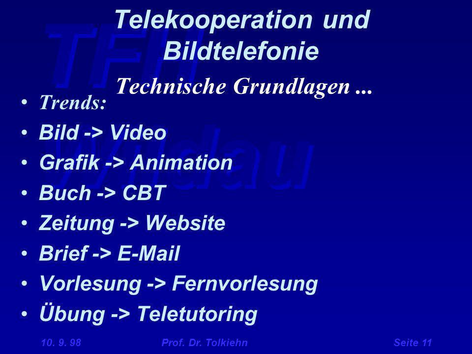 TFH Wildau 10. 9. 98 Prof. Dr. Tolkiehn Seite 11 Telekooperation und Bildtelefonie Technische Grundlagen... Trends: Bild -> Video Grafik -> Animation