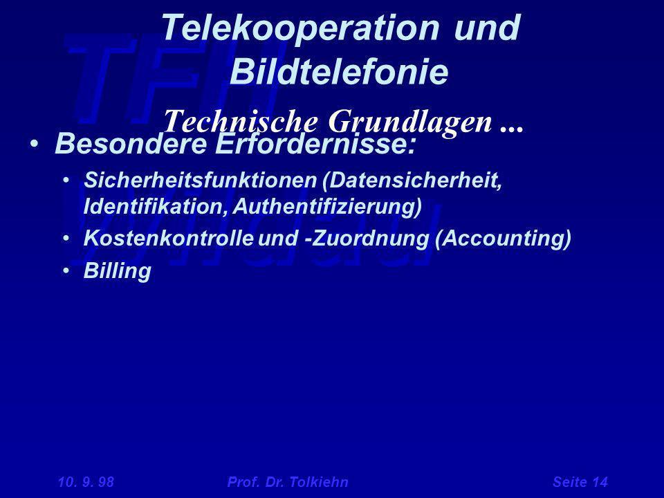 TFH Wildau 10. 9. 98 Prof. Dr. Tolkiehn Seite 14 Telekooperation und Bildtelefonie Technische Grundlagen... Besondere Erfordernisse: Sicherheitsfunkti