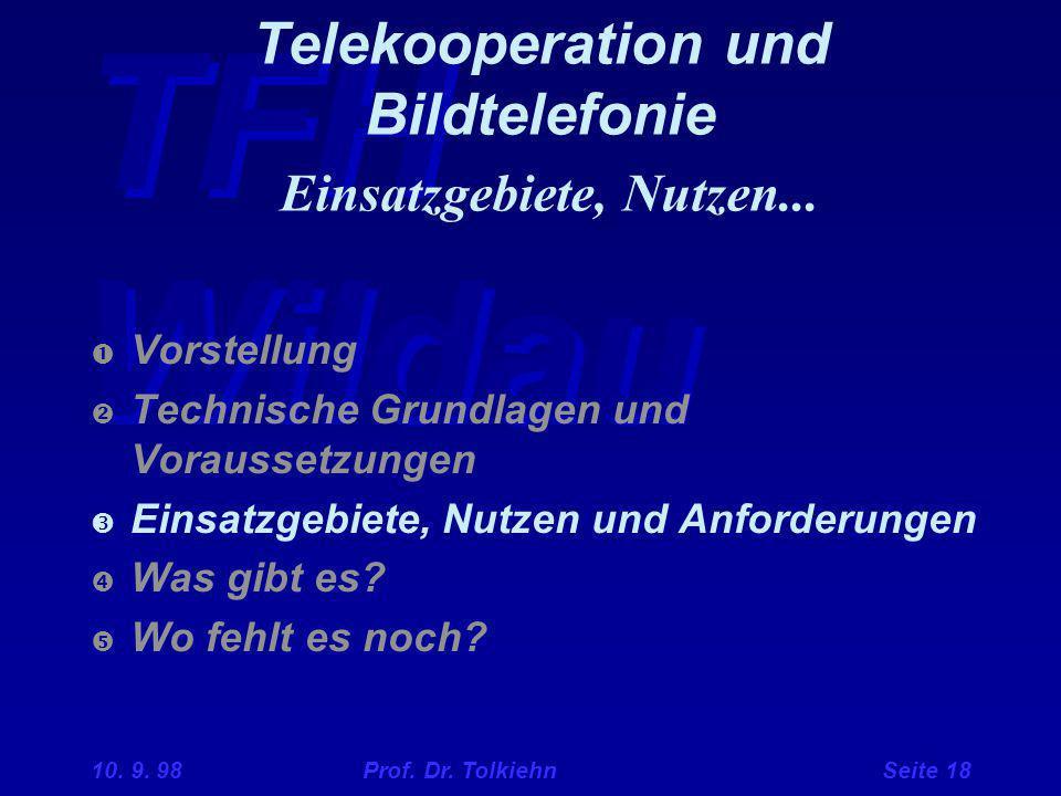 TFH Wildau 10. 9. 98 Prof. Dr. Tolkiehn Seite 18 Telekooperation und Bildtelefonie Einsatzgebiete, Nutzen...  Vorstellung  Technische Grundlagen und