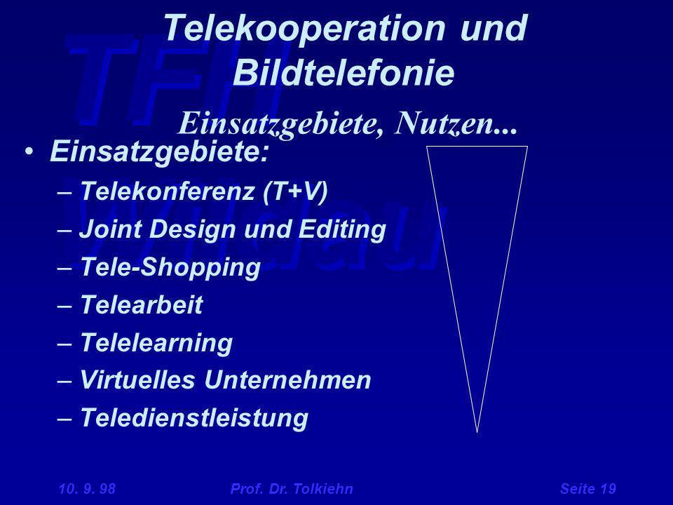TFH Wildau 10. 9. 98 Prof. Dr. Tolkiehn Seite 19 Telekooperation und Bildtelefonie Einsatzgebiete, Nutzen... Einsatzgebiete: –Telekonferenz (T+V) –Joi