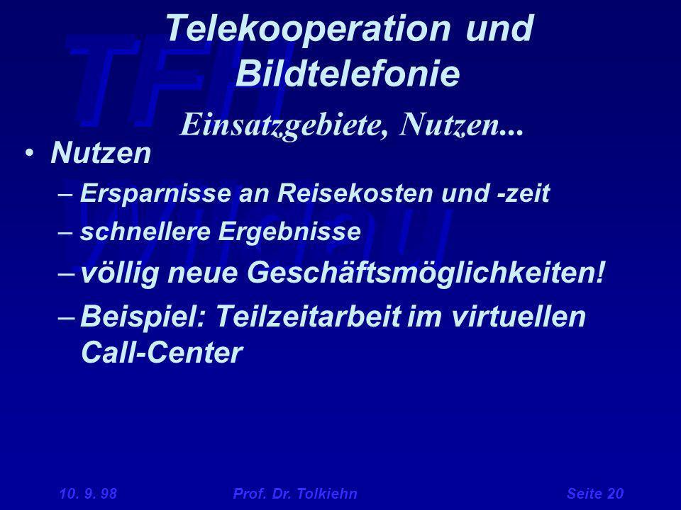 TFH Wildau 10. 9. 98 Prof. Dr. Tolkiehn Seite 20 Telekooperation und Bildtelefonie Einsatzgebiete, Nutzen... Nutzen –Ersparnisse an Reisekosten und -z