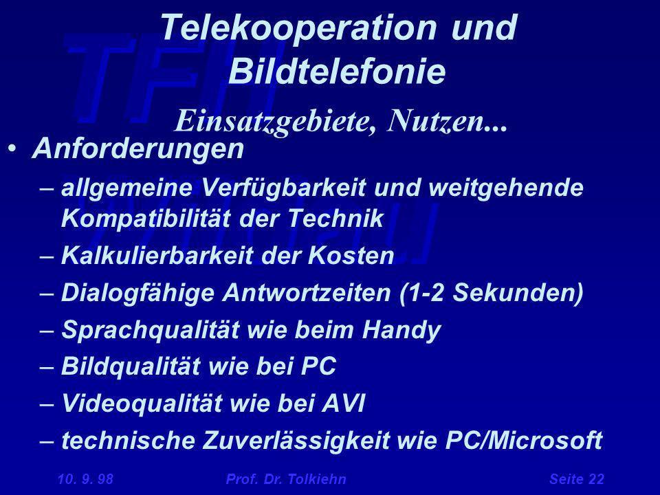 TFH Wildau 10. 9. 98 Prof. Dr. Tolkiehn Seite 22 Telekooperation und Bildtelefonie Einsatzgebiete, Nutzen... Anforderungen –allgemeine Verfügbarkeit u