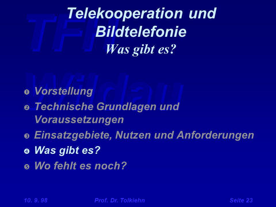 TFH Wildau 10. 9. 98 Prof. Dr. Tolkiehn Seite 23 Telekooperation und Bildtelefonie Was gibt es?  Vorstellung  Technische Grundlagen und Voraussetzun
