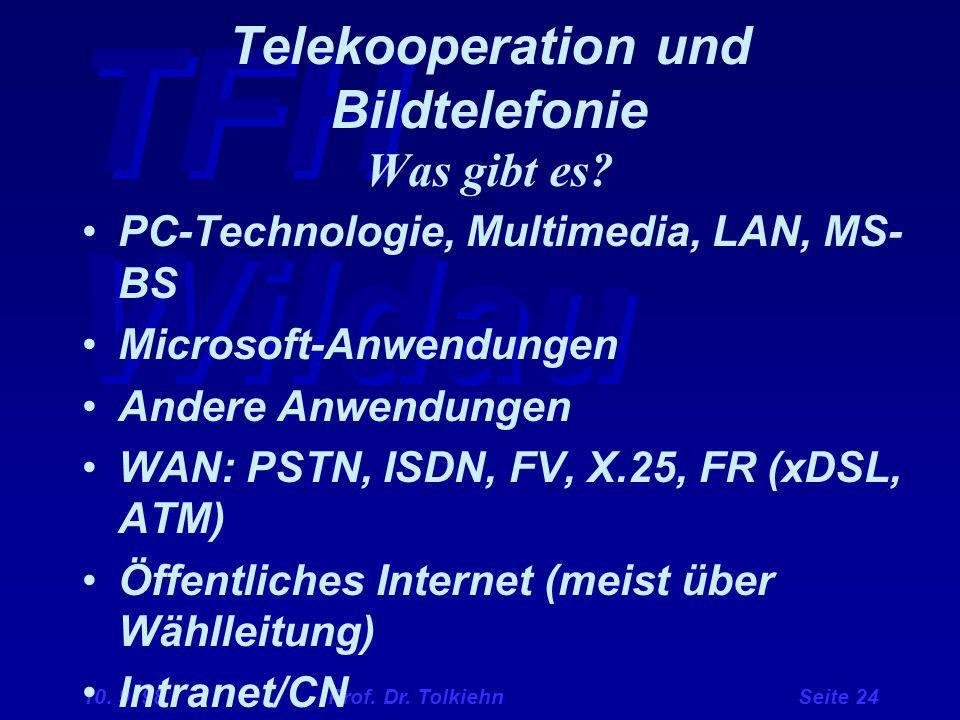 TFH Wildau 10. 9. 98 Prof. Dr. Tolkiehn Seite 24 Telekooperation und Bildtelefonie Was gibt es? PC-Technologie, Multimedia, LAN, MS- BS Microsoft-Anwe