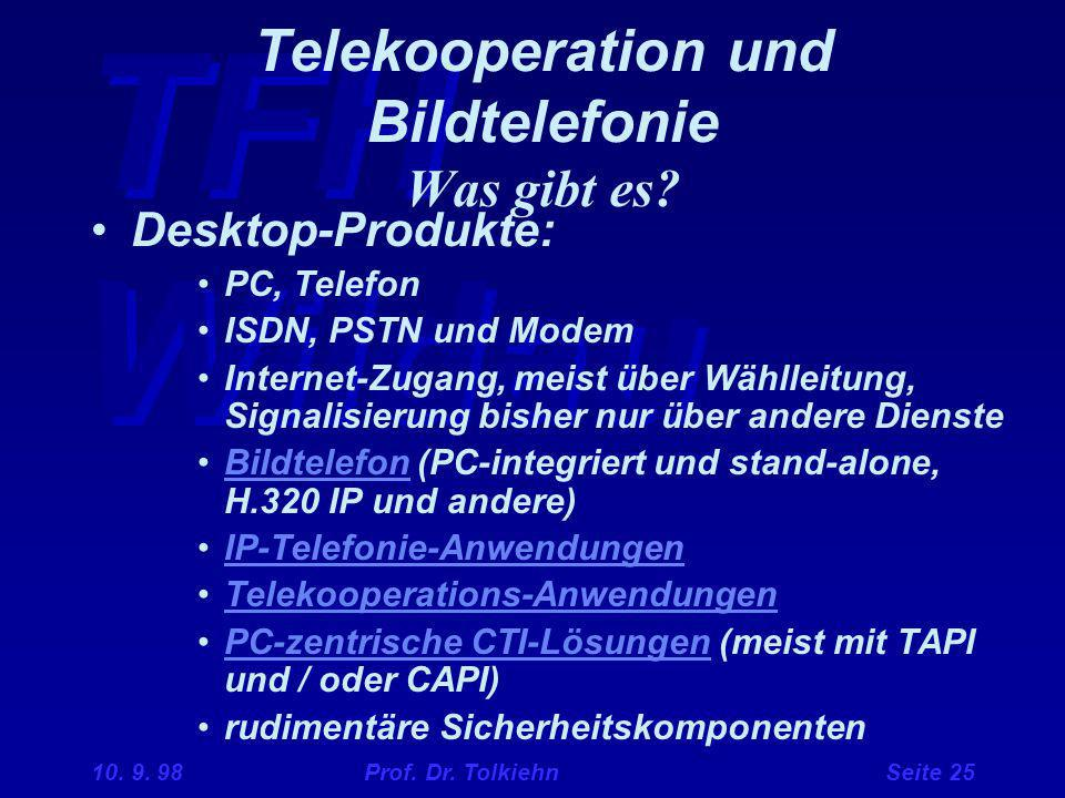 TFH Wildau 10. 9. 98 Prof. Dr. Tolkiehn Seite 25 Telekooperation und Bildtelefonie Was gibt es? Desktop-Produkte: PC, Telefon ISDN, PSTN und Modem Int