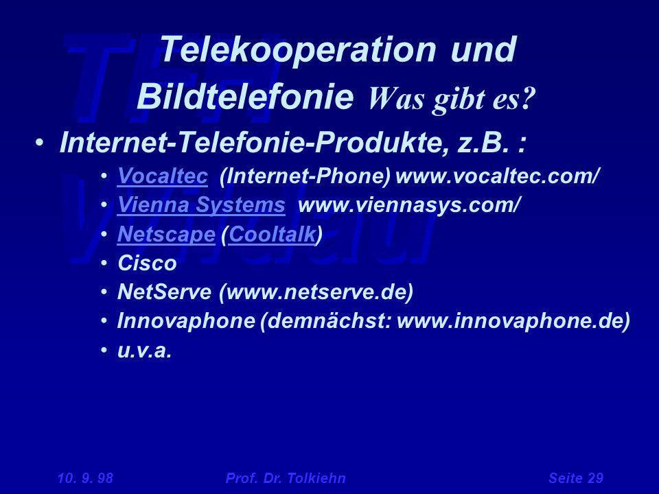 TFH Wildau 10. 9. 98 Prof. Dr. Tolkiehn Seite 29 Telekooperation und Bildtelefonie Was gibt es? Internet-Telefonie-Produkte, z.B. : Vocaltec (Internet
