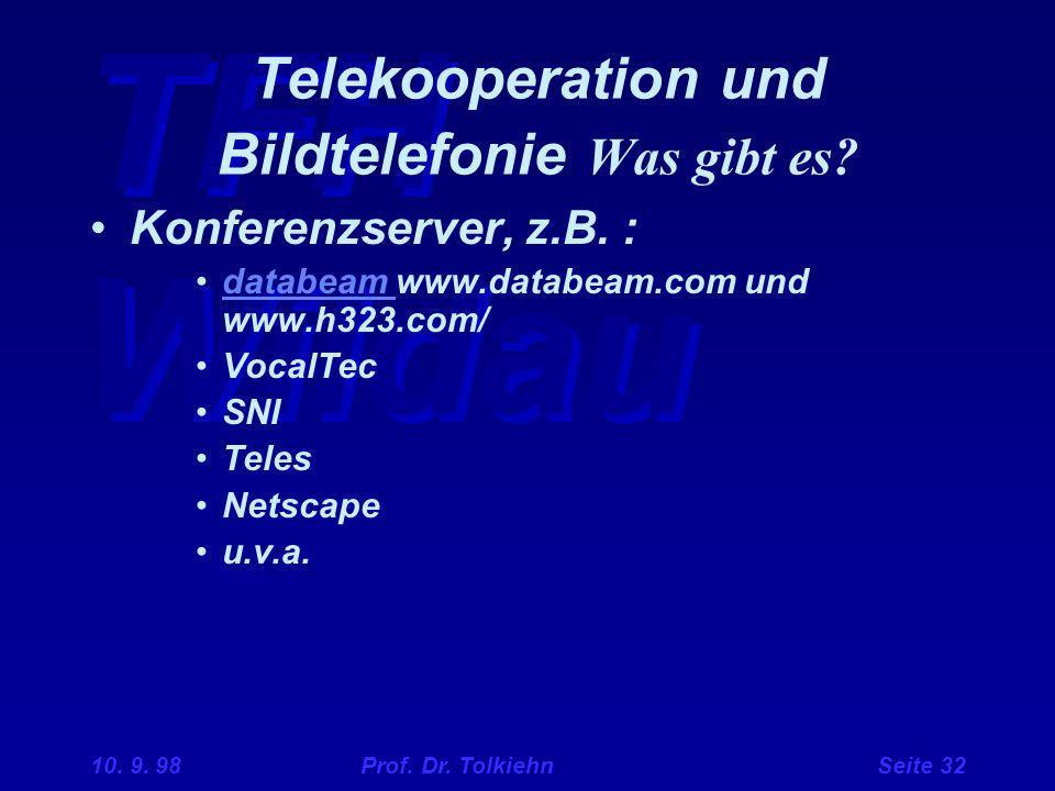 TFH Wildau 10. 9. 98 Prof. Dr. Tolkiehn Seite 32 Telekooperation und Bildtelefonie Was gibt es? Konferenzserver, z.B. : databeam www.databeam.com und