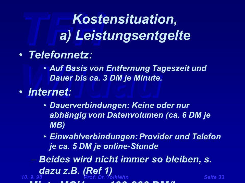 TFH Wildau 10. 9. 98 Prof. Dr. Tolkiehn Seite 33 Kostensituation, a) Leistungsentgelte Telefonnetz: Auf Basis von Entfernung Tageszeit und Dauer bis c