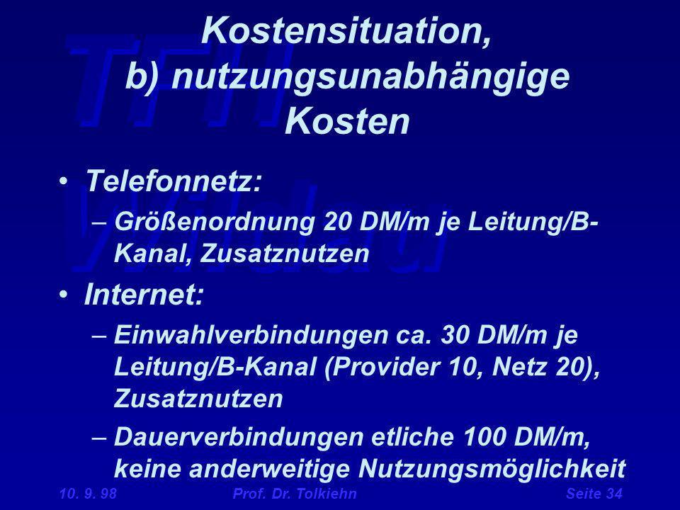 TFH Wildau 10. 9. 98 Prof. Dr. Tolkiehn Seite 34 Kostensituation, b) nutzungsunabhängige Kosten Telefonnetz: –Größenordnung 20 DM/m je Leitung/B- Kana
