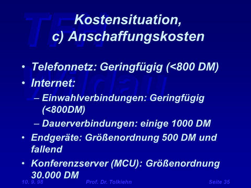 TFH Wildau 10. 9. 98 Prof. Dr. Tolkiehn Seite 35 Kostensituation, c) Anschaffungskosten Telefonnetz: Geringfügig (<800 DM) Internet: –Einwahlverbindun