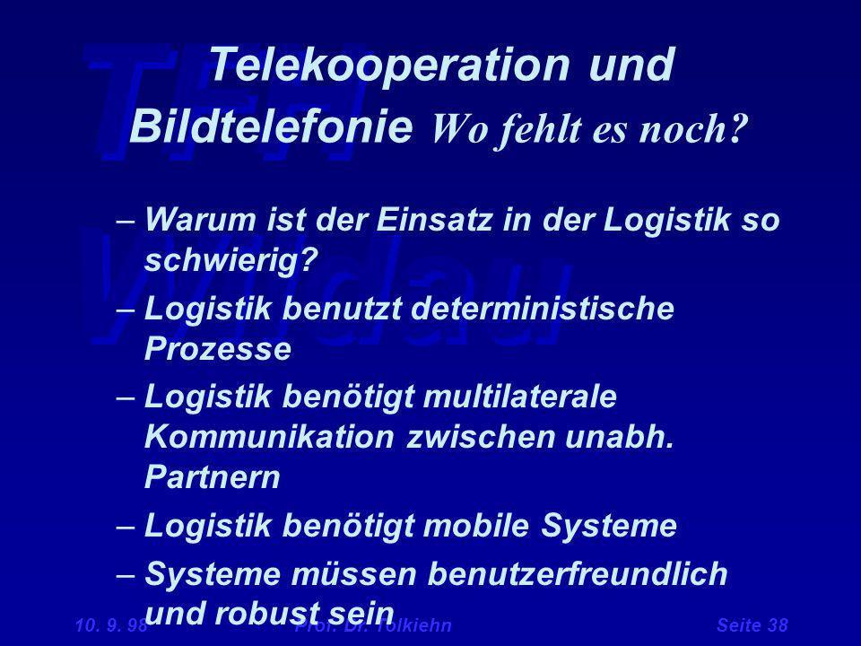 TFH Wildau 10. 9. 98 Prof. Dr. Tolkiehn Seite 38 –Warum ist der Einsatz in der Logistik so schwierig? –Logistik benutzt deterministische Prozesse –Log