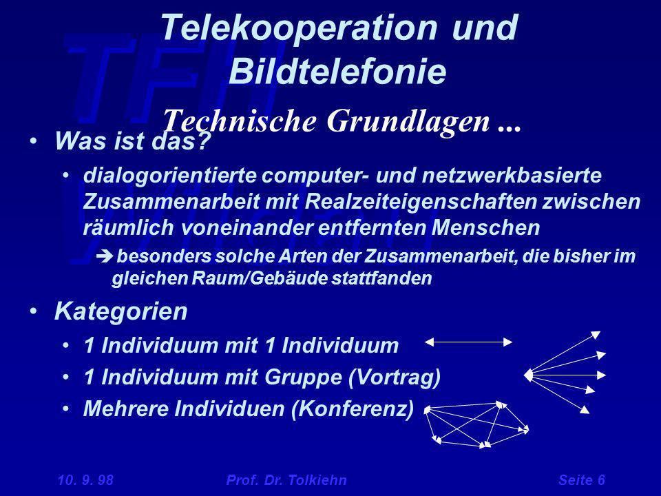 TFH Wildau 10. 9. 98 Prof. Dr. Tolkiehn Seite 6 Telekooperation und Bildtelefonie Technische Grundlagen... Was ist das? dialogorientierte computer- un