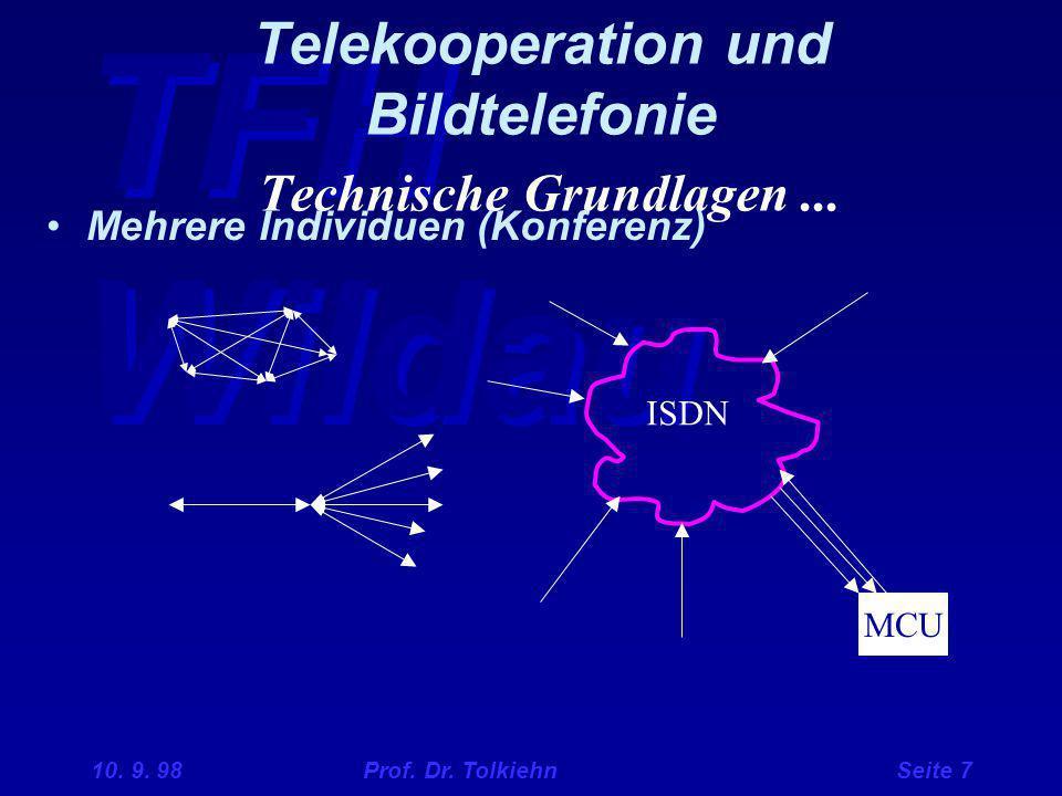 TFH Wildau 10. 9. 98 Prof. Dr. Tolkiehn Seite 7 Telekooperation und Bildtelefonie Technische Grundlagen... Mehrere Individuen (Konferenz) MCU ISDN