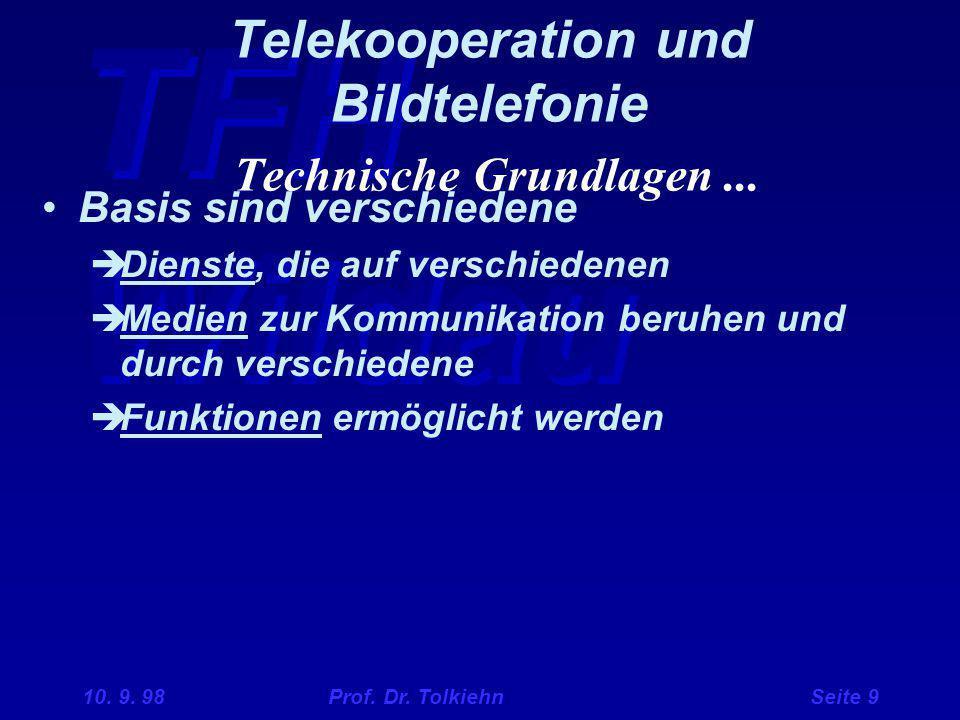 TFH Wildau 10. 9. 98 Prof. Dr. Tolkiehn Seite 9 Telekooperation und Bildtelefonie Technische Grundlagen... Basis sind verschiedene  Dienste, die auf
