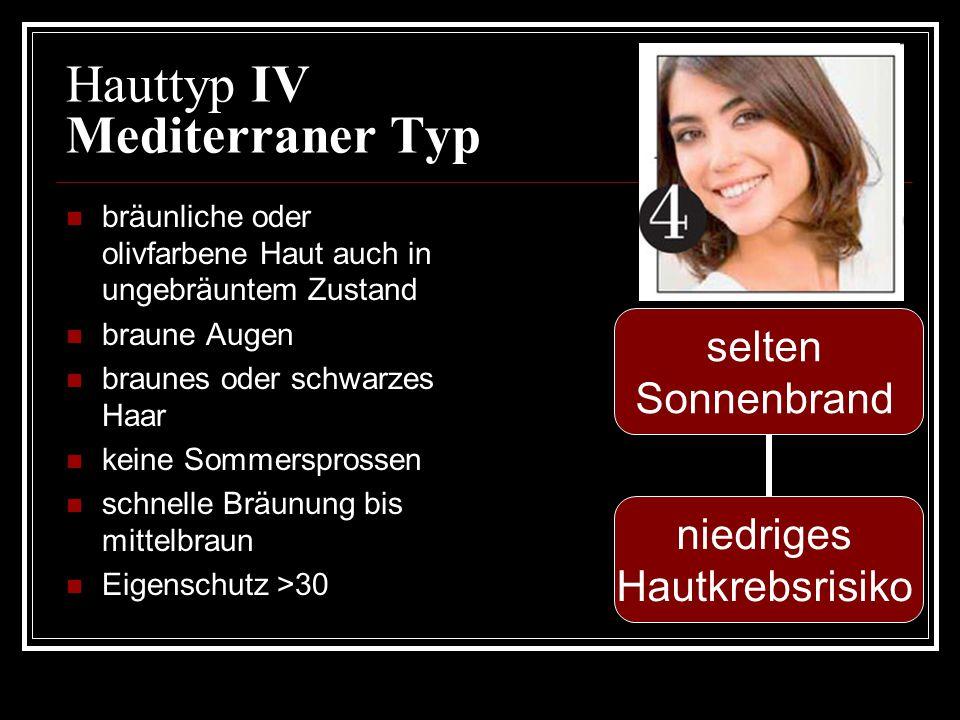 Hauttyp IV Mediterraner Typ bräunliche oder olivfarbene Haut auch in ungebräuntem Zustand braune Augen braunes oder schwarzes Haar keine Sommersprosse