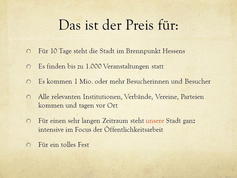 Das ist der Preis für: Für 10 Tage steht die Stadt im Brennpunkt Hessens Es finden bis zu 1.000 Veranstaltungen statt Es kommen 1 Mio.