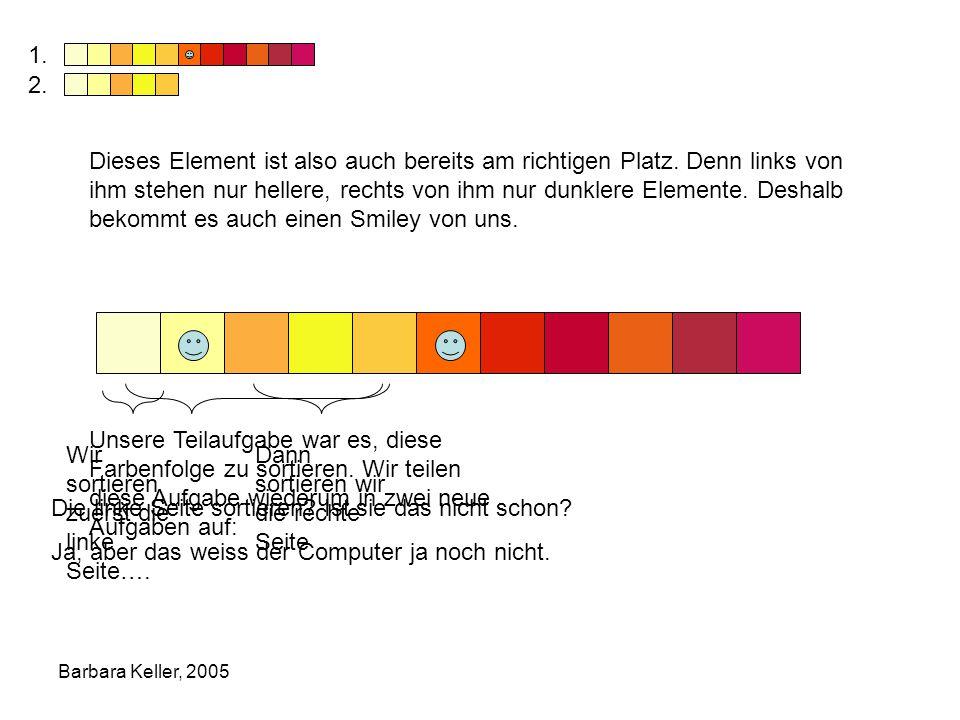 Barbara Keller, 2005 Dieses Element ist also auch bereits am richtigen Platz.