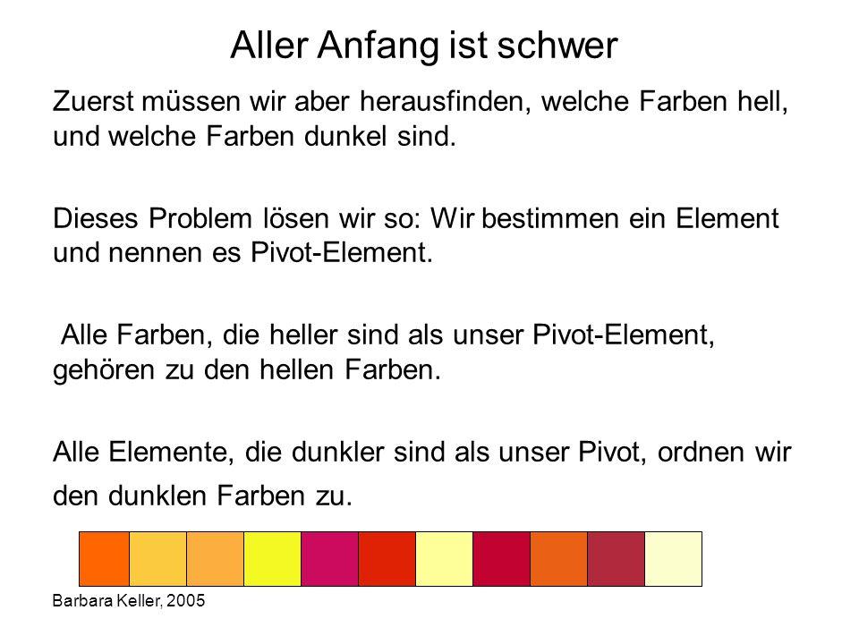 Barbara Keller, 2005 Aller Anfang ist schwer Zuerst müssen wir aber herausfinden, welche Farben hell, und welche Farben dunkel sind.
