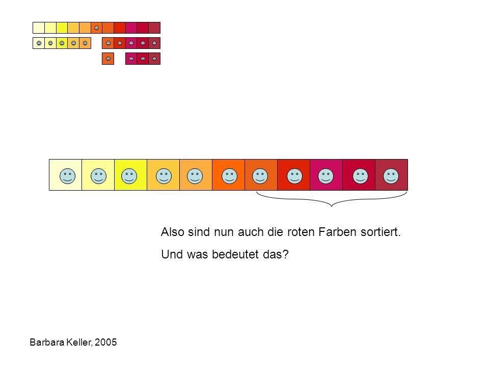 Barbara Keller, 2005 Also sind nun auch die roten Farben sortiert. Und was bedeutet das?