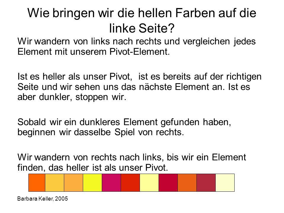 Barbara Keller, 2005 Wie bringen wir die hellen Farben auf die linke Seite.