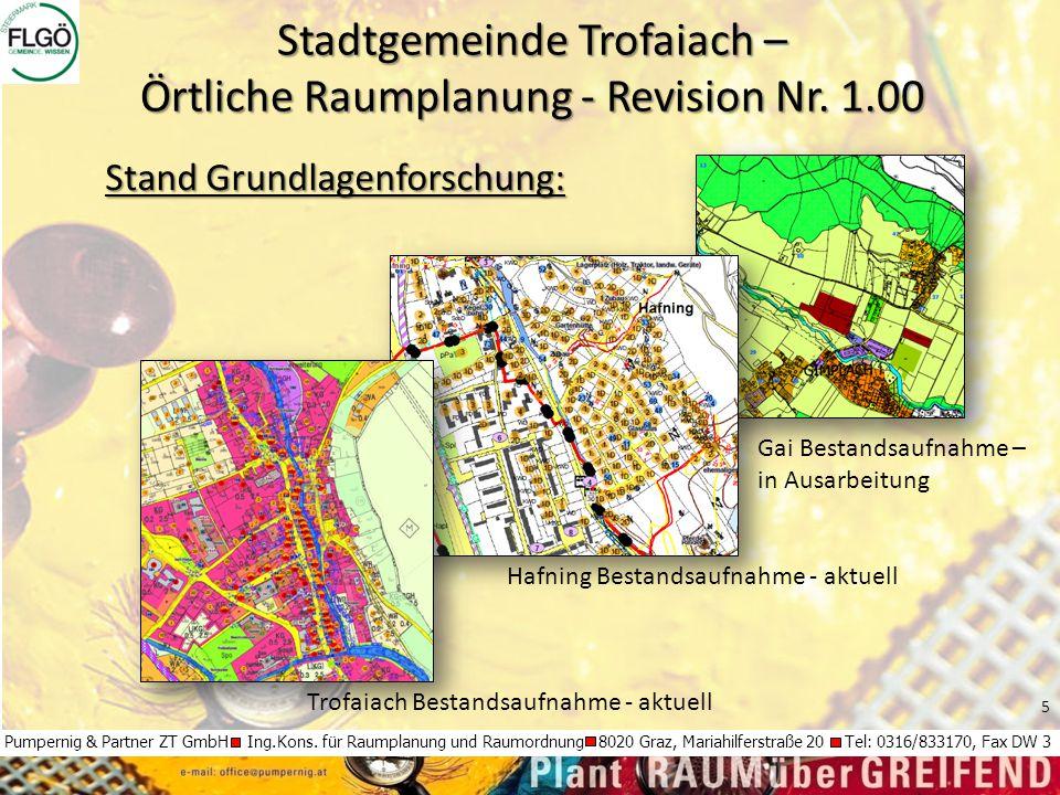 5 Pumpernig & Partner ZT GmbH Ing.Kons. für Raumplanung und Raumordnung 8020 Graz, Mariahilferstraße 20 Tel: 0316/833170, Fax DW 3 Stadtgemeinde Trofa