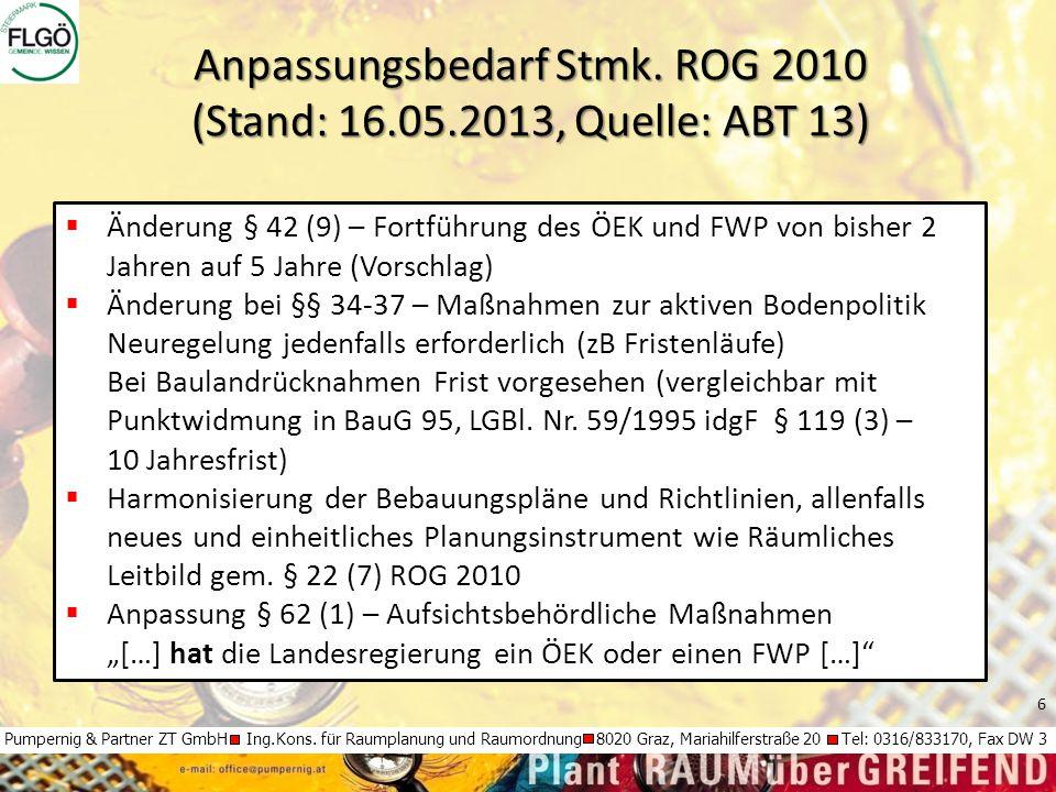 6 Pumpernig & Partner ZT GmbH Ing.Kons. für Raumplanung und Raumordnung 8020 Graz, Mariahilferstraße 20 Tel: 0316/833170, Fax DW 3  Änderung § 42 (9)