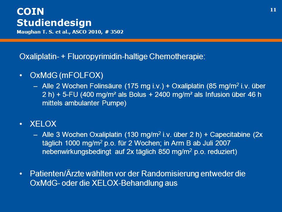 11 COIN Studiendesign Oxaliplatin- + Fluoropyrimidin-haltige Chemotherapie: OxMdG (mFOLFOX) –Alle 2 Wochen Folinsäure (175 mg i.v.) + Oxaliplatin (85