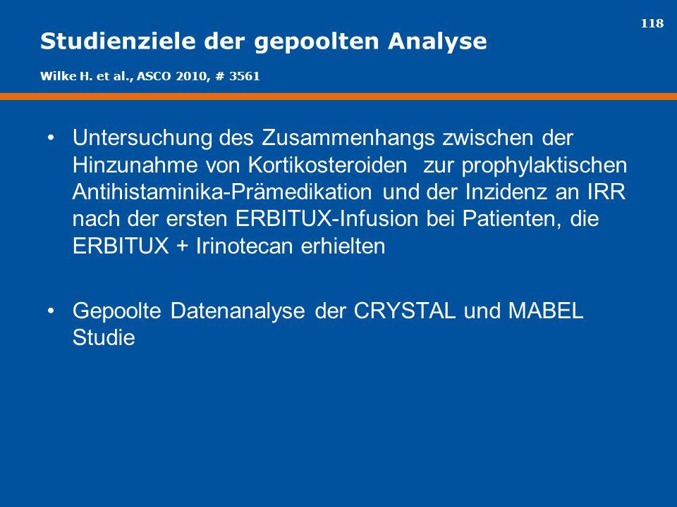 118 Studienziele der gepoolten Analyse Untersuchung des Zusammenhangs zwischen der Hinzunahme von Kortikosteroiden zur prophylaktischen Antihistaminik