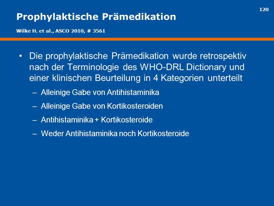 120 Prophylaktische Prämedikation Die prophylaktische Prämedikation wurde retrospektiv nach der Terminologie des WHO-DRL Dictionary und einer klinisch
