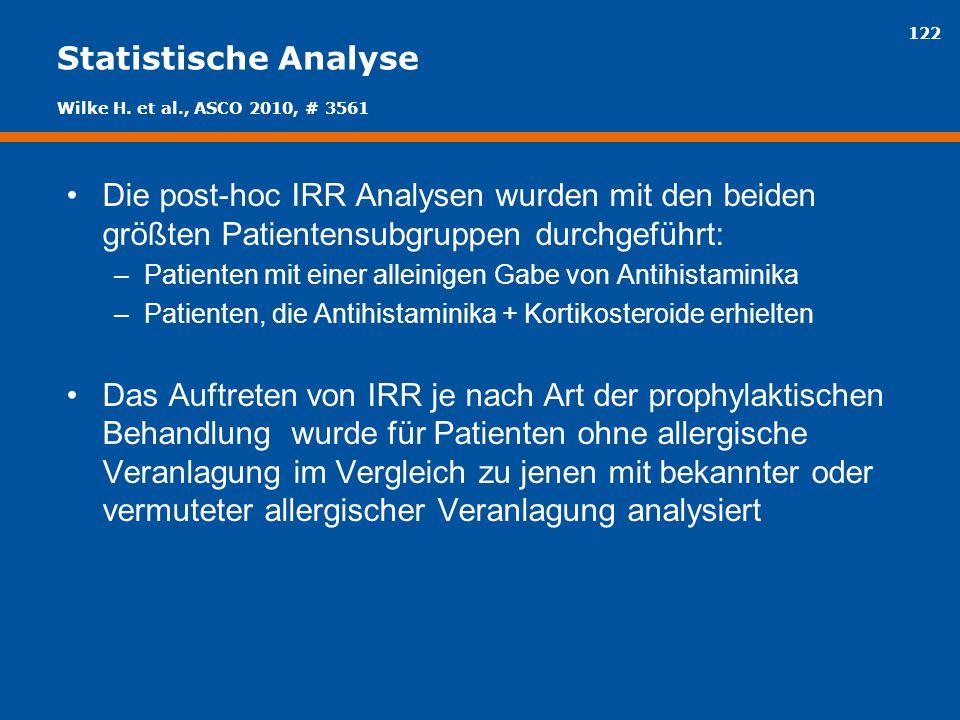 122 Statistische Analyse Die post-hoc IRR Analysen wurden mit den beiden größten Patientensubgruppen durchgeführt: –Patienten mit einer alleinigen Gab