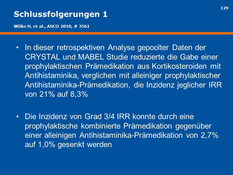 129 Schlussfolgerungen 1 In dieser retrospektiven Analyse gepoolter Daten der CRYSTAL und MABEL Studie reduzierte die Gabe einer prophylaktischen Präm