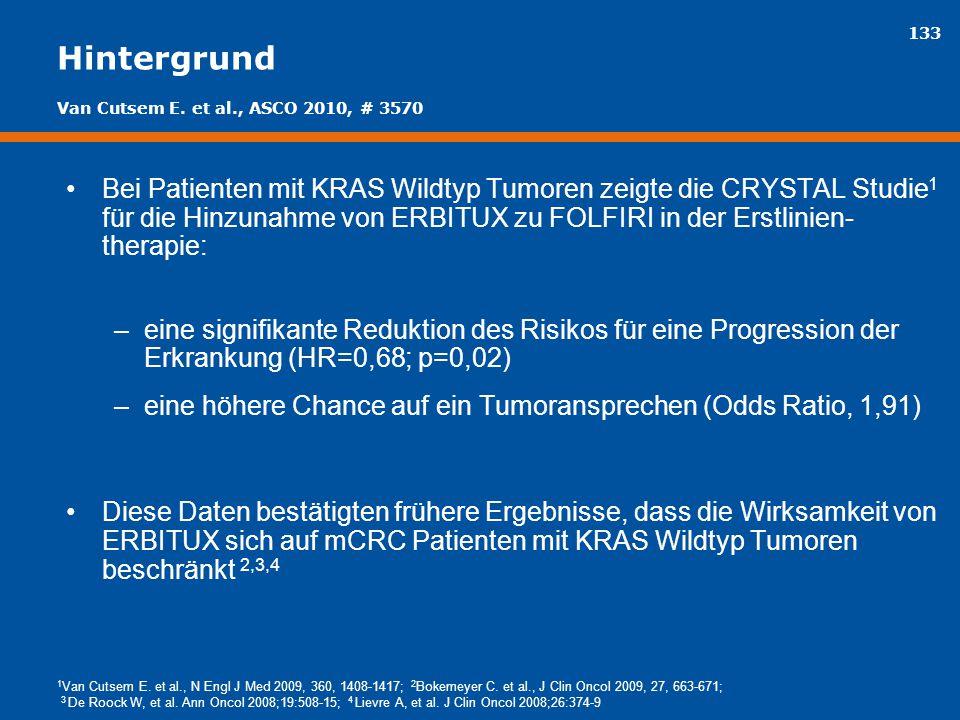 133 Hintergrund Bei Patienten mit KRAS Wildtyp Tumoren zeigte die CRYSTAL Studie 1 für die Hinzunahme von ERBITUX zu FOLFIRI in der Erstlinien- therap