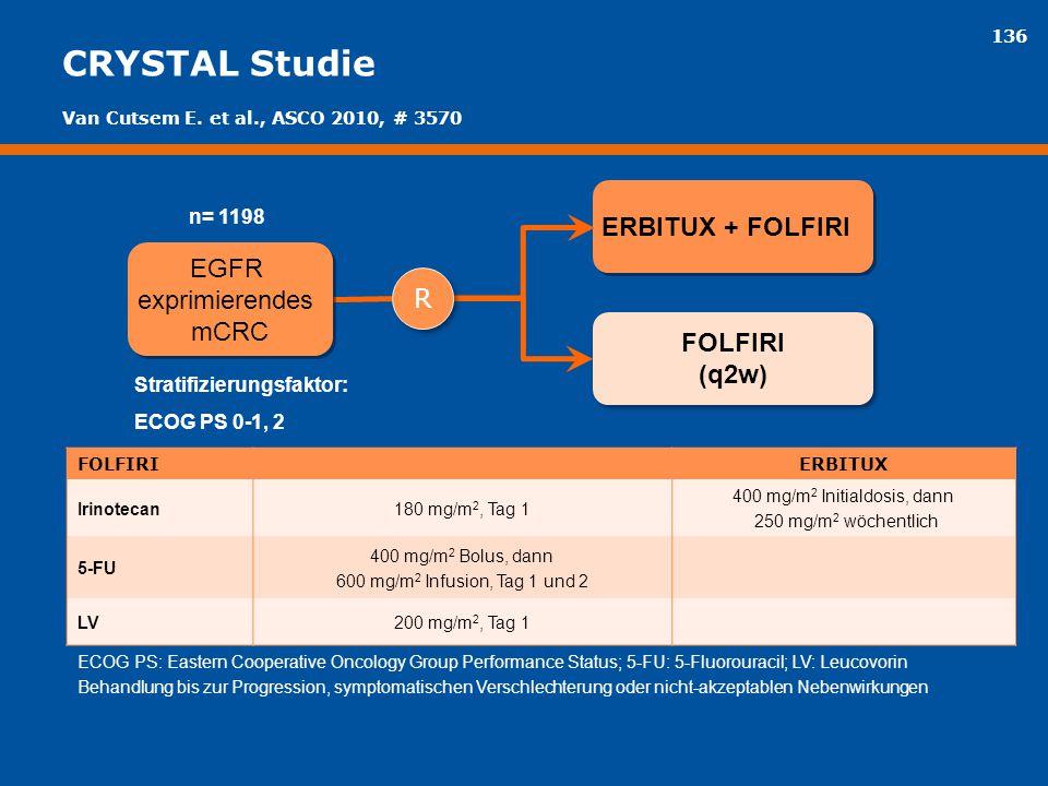 136 CRYSTAL Studie FOLFIRI (q2w) FOLFIRI (q2w) ERBITUX + FOLFIRI EGFR exprimierendes mCRC EGFR exprimierendes mCRC Stratifizierungsfaktor: ECOG PS 0-1