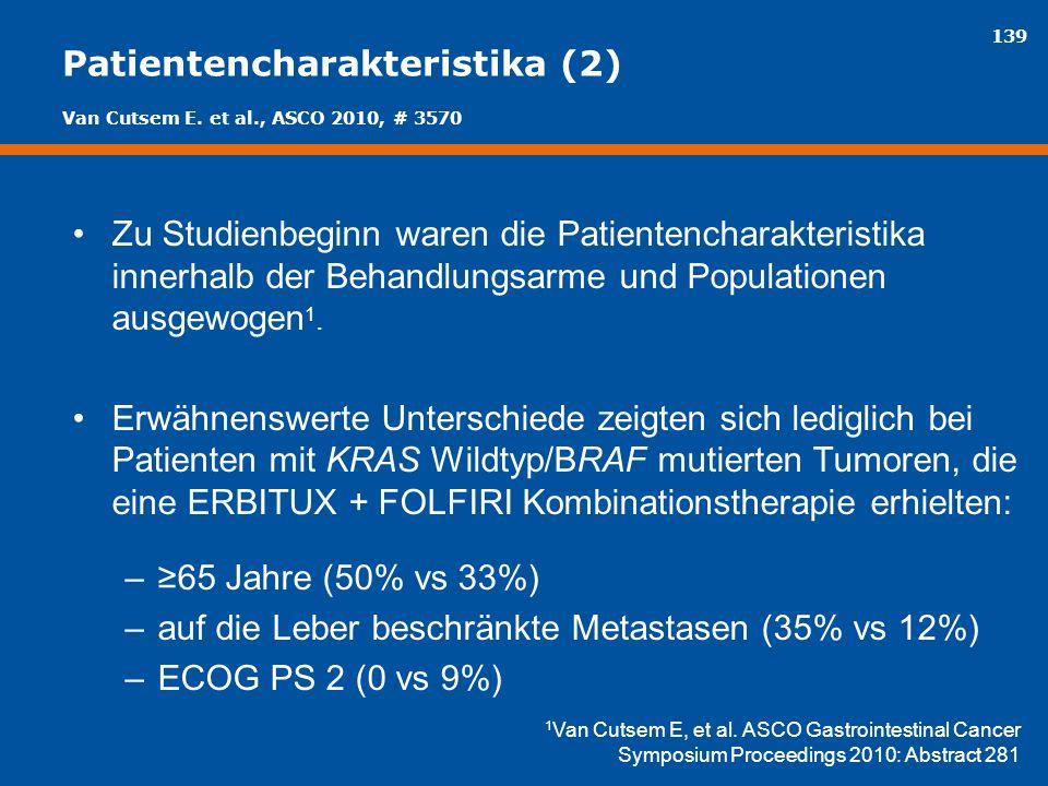 139 Patientencharakteristika (2) Zu Studienbeginn waren die Patientencharakteristika innerhalb der Behandlungsarme und Populationen ausgewogen 1. Erwä