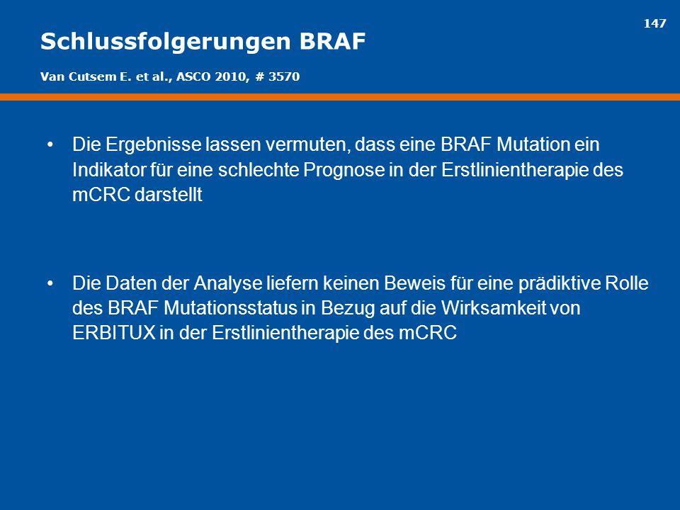 147 Schlussfolgerungen BRAF Die Ergebnisse lassen vermuten, dass eine BRAF Mutation ein Indikator für eine schlechte Prognose in der Erstlinientherapi
