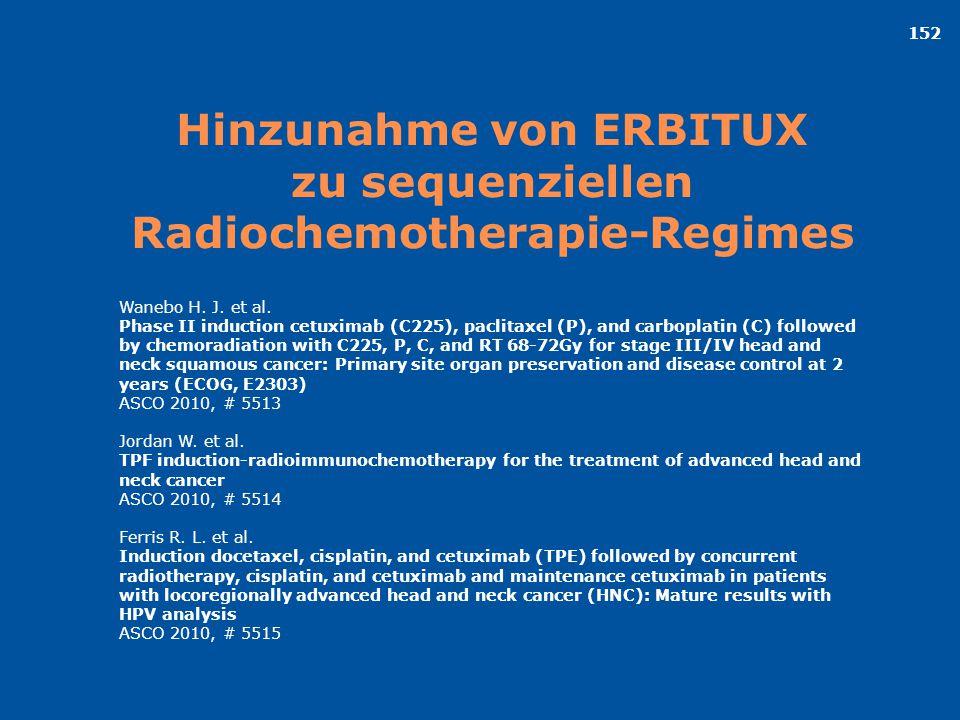 152 Hinzunahme von ERBITUX zu sequenziellen Radiochemotherapie-Regimes Wanebo H. J. et al. Phase II induction cetuximab (C225), paclitaxel (P), and ca