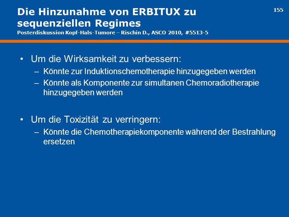 155 Die Hinzunahme von ERBITUX zu sequenziellen Regimes Um die Wirksamkeit zu verbessern: –Könnte zur Induktionschemotherapie hinzugegeben werden –Kön
