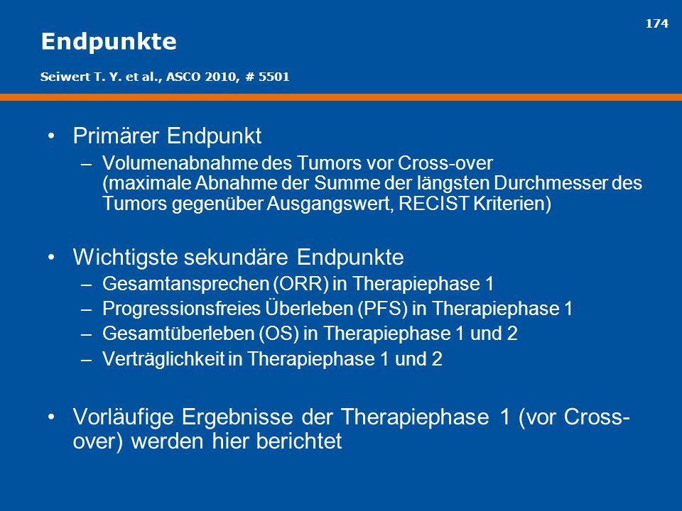 174 Endpunkte Primärer Endpunkt –Volumenabnahme des Tumors vor Cross-over (maximale Abnahme der Summe der längsten Durchmesser des Tumors gegenüber Au