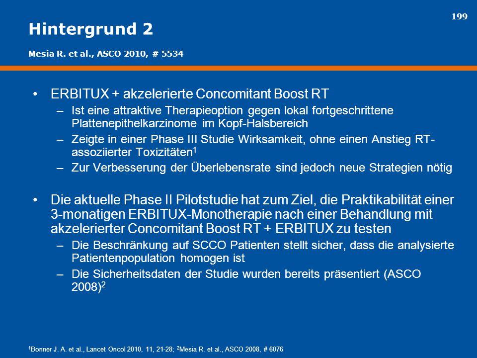 199 Hintergrund 2 ERBITUX + akzelerierte Concomitant Boost RT –Ist eine attraktive Therapieoption gegen lokal fortgeschrittene Plattenepithelkarzinome