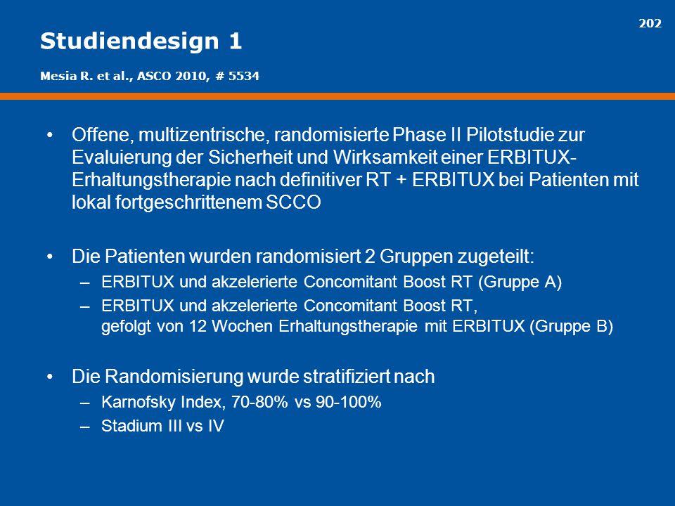 202 Studiendesign 1 Offene, multizentrische, randomisierte Phase II Pilotstudie zur Evaluierung der Sicherheit und Wirksamkeit einer ERBITUX- Erhaltun