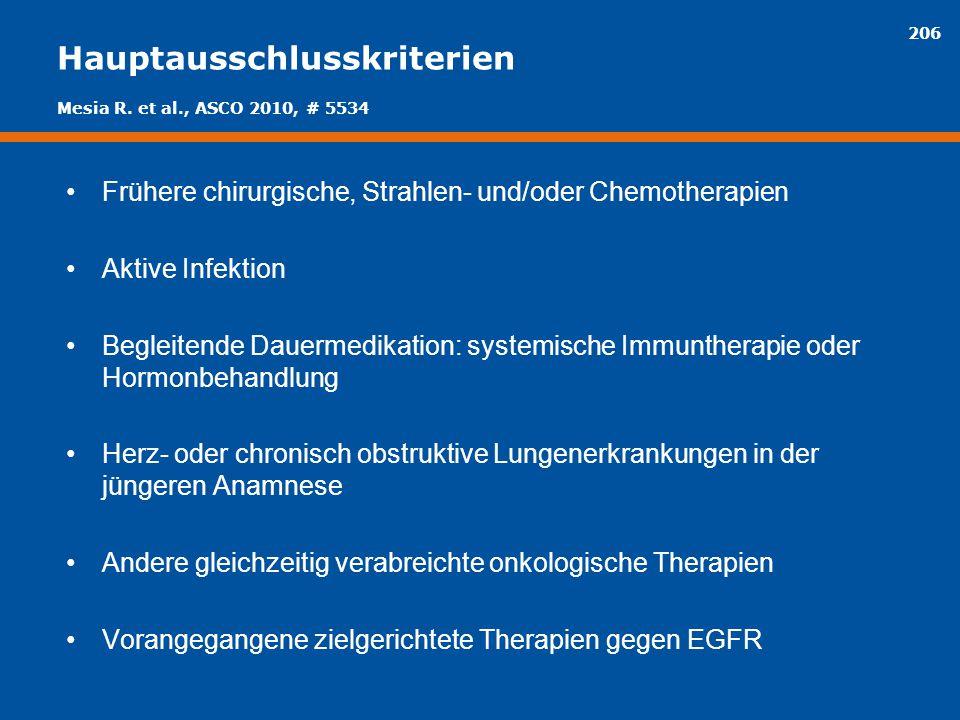 206 Hauptausschlusskriterien Frühere chirurgische, Strahlen- und/oder Chemotherapien Aktive Infektion Begleitende Dauermedikation: systemische Immunth