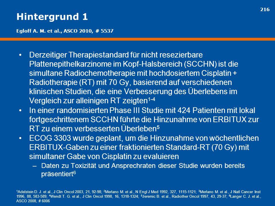 216 Hintergrund 1 Derzeitiger Therapiestandard für nicht resezierbare Plattenepithelkarzinome im Kopf-Halsbereich (SCCHN) ist die simultane Radiochemo