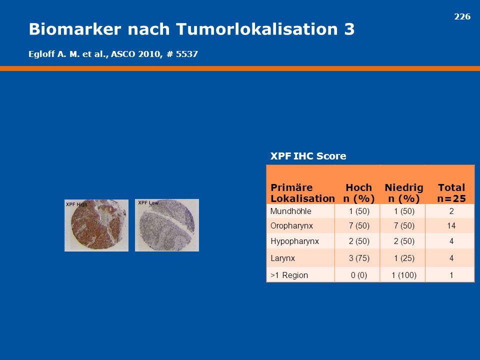 226 Biomarker nach Tumorlokalisation 3 XPF IHC Score Primäre Lokalisation Hoch n (%) Niedrig n (%) Total n=25 Mundhöhle1 (50) 2 Oropharynx7 (50) 14 Hy
