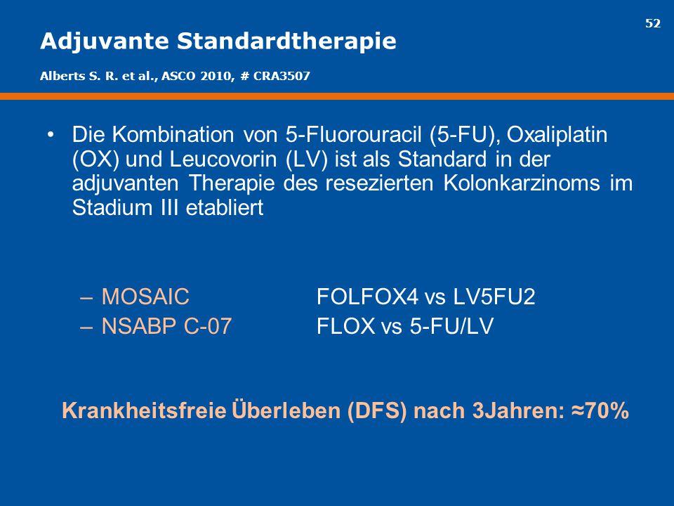 52 Adjuvante Standardtherapie Die Kombination von 5-Fluorouracil (5-FU), Oxaliplatin (OX) und Leucovorin (LV) ist als Standard in der adjuvanten Thera