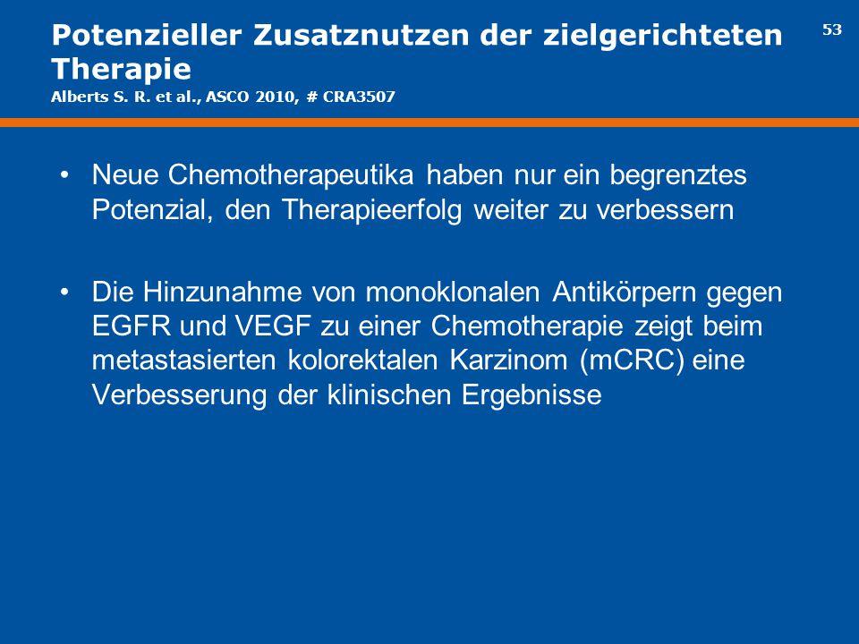 53 Potenzieller Zusatznutzen der zielgerichteten Therapie Neue Chemotherapeutika haben nur ein begrenztes Potenzial, den Therapieerfolg weiter zu verb